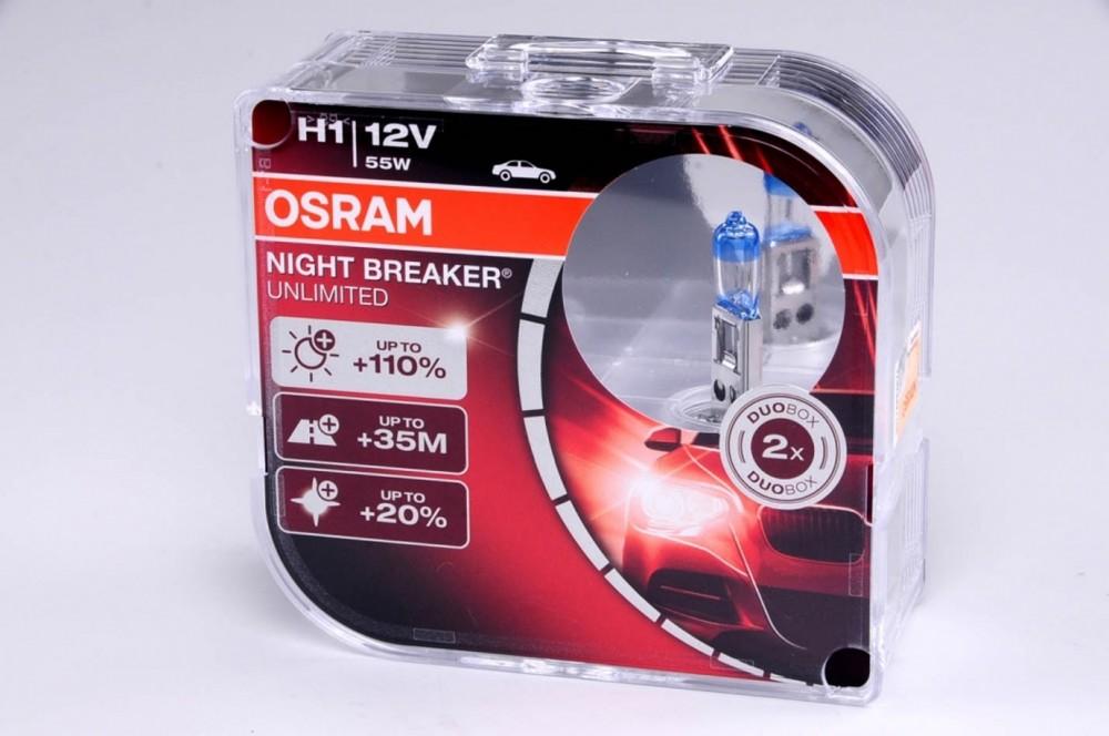 Autožárovky H1 12V 55W OSRAM NIGHT BREAKER UNLIMITED, o 110% více světla