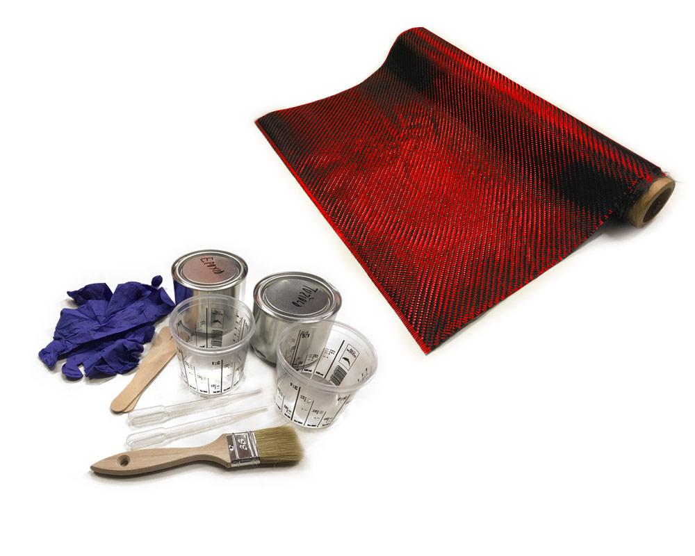 Sada na potahování a výrobu karbonových dílů, 50x100cm - červený / černý karbon