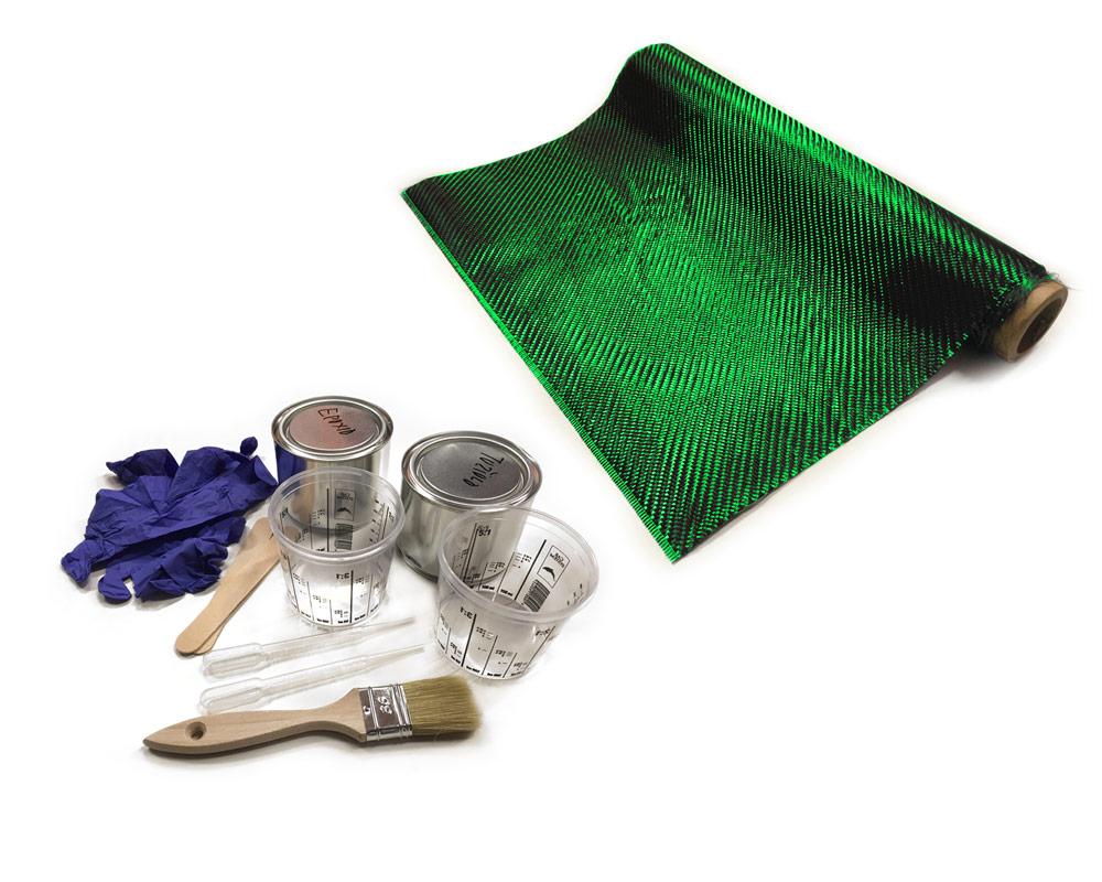 Sada na potahování a výrobu karbonových dílů, 50x100cm - zelený / černý karbon