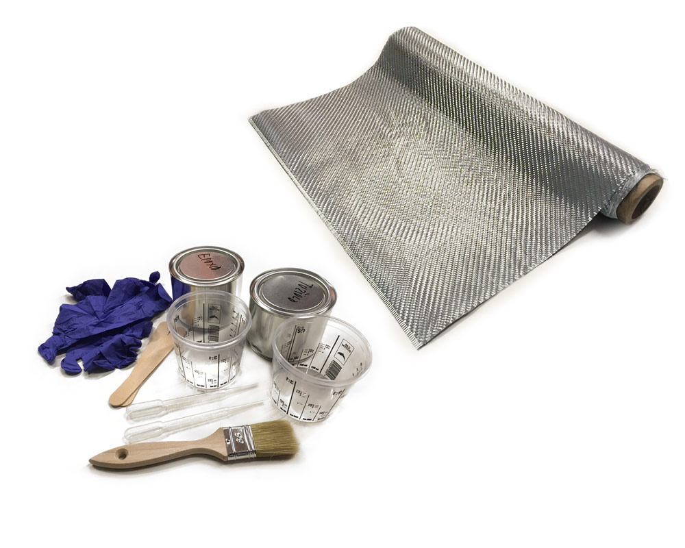 Sada na potahování a výrobu karbonových dílů, 50x100cm - stříbrný karbon