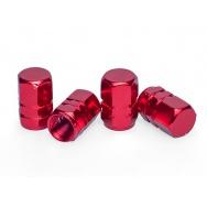 Čepičky ventilků ALU hranaté, 4ks, červené