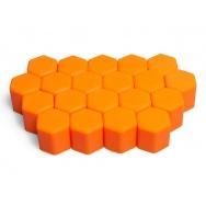 Silikonové kryty na kolové šrouby 17 mm, sada 20 ks, oranžové