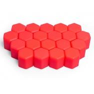 Silikonové kryty na kolové šrouby 17 mm, sada 20 ks, červené