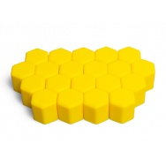 Silikonové kryty na kolové šrouby 17 mm, sada 20 ks, žluté