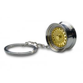 Přívěšek na klíče - lité kolo, zlaté