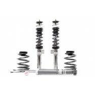 Kompletní výškově a tuhostně stavitelný podvozek H&R v nerezovém provedení pro VW Golf V včetně Golf Plus a Variant (kombi) s průměrem př. tlumiče 50mm  r.v.10/03>  s pohonem předních kol