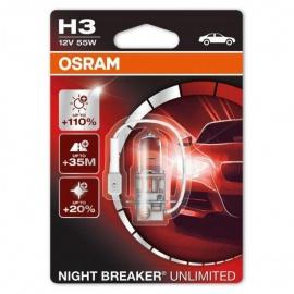 Autožárovky H3 12V 55W OSRAM NIGHT BREAKER UNLIMITED, o 110% více světla