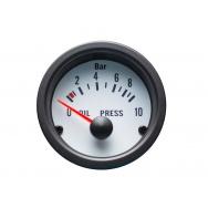Autogauge palubní přístroj - tlak oleje s bílým podkladem