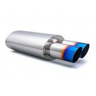Sportovní nerezový výfuk (tlumič) univerzální - koncovka 2x 76mm, TitanLook