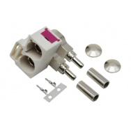 Anténní konektor dvojitá FAKRA samice 90° bílá