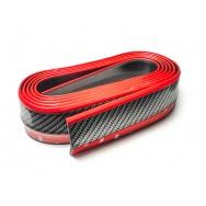 Univerzální spoiler z pružného materiálu Carbon-Look - černý s červenou linkou, délka 2,5 m