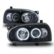 Přední světla VW Golf III - CCFL angel eyes, černá