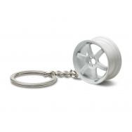 Přívěšek na klíče - lité kolo, bílé