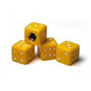 Čepičky ventilků - hrací kostky, žluté