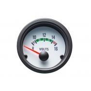 Autogauge palubní přístroj - voltmetr s bílým podkladem