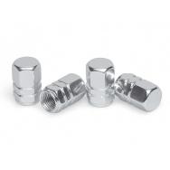 Čepičky ventilků ALU hranaté, 4ks, stříbrné