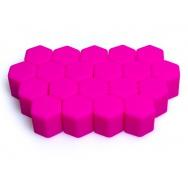 Silikonové kryty na kolové šrouby 17 mm, sada 20 ks, růžové