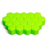 Silikonové kryty na kolové šrouby 17 mm, sada 20 ks, zelené