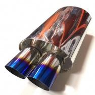 Sportovní nerezový výfuk (tlumič) univerzální - koncovka 2x 76mm zkosená, TitanLook