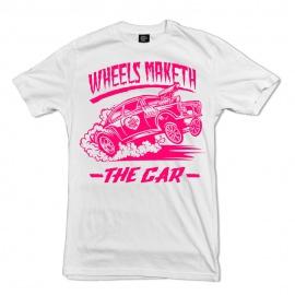 Wheel Whores tričko uni - Wheels Maketh The Car, bílé, vel. XL