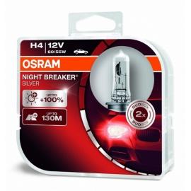Autožárovky H4 12V 60/55W OSRAM NIGHT BREAKER SILVER, o 100% více světla